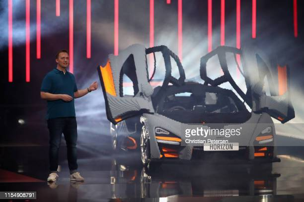 Ralph Fulton, Creative Director at Playground Games reveals 'Forza Horizon 4: LEGO Speed Champions' during the Xbox E3 2019 Briefing at The Microsoft...