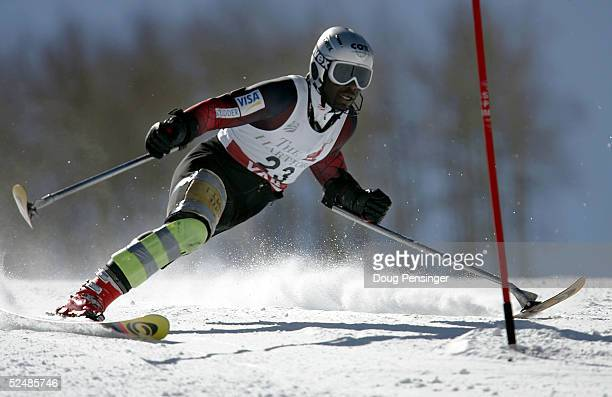 Ralph Green attacks the slalom course enroute to 6th place in the men's Standing Skiers Slalom race at the US Disabled Alpine Skiing Championships at...