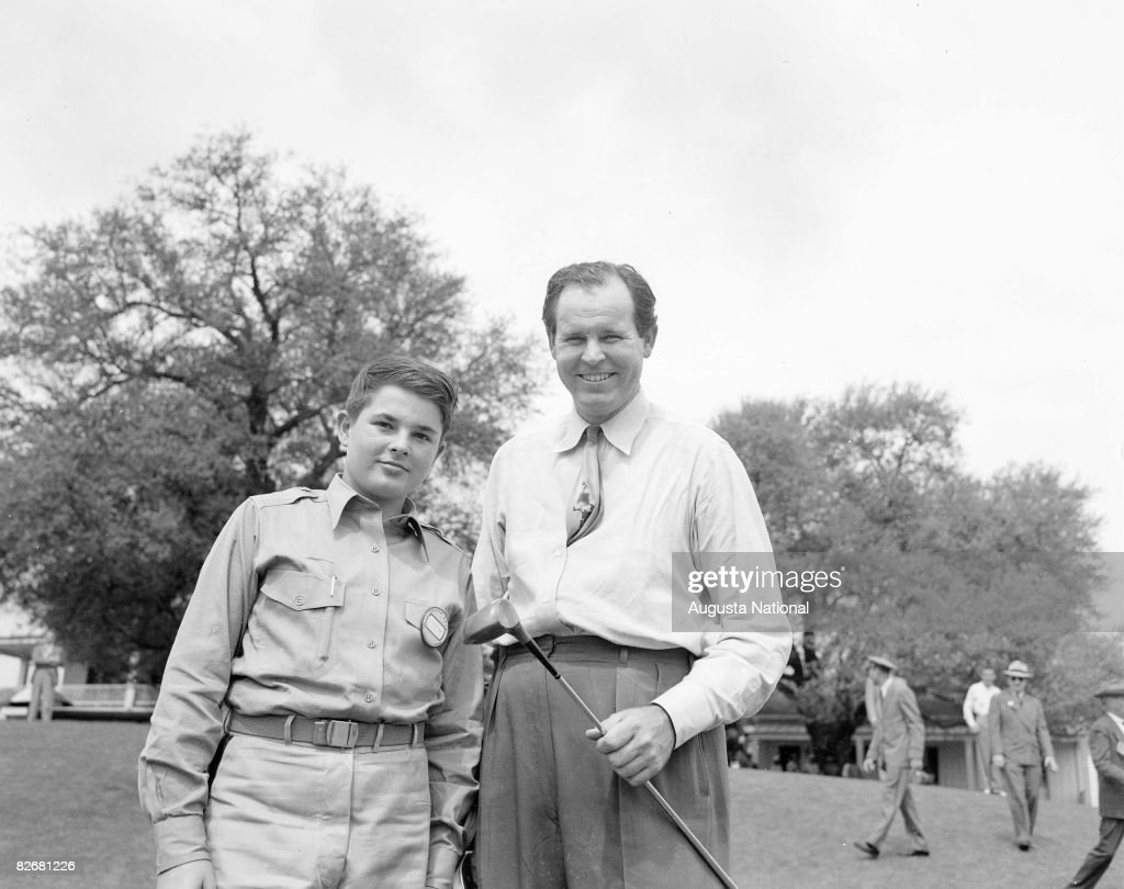 Ralph Guldahl stands with his son Ralph Guldahl, Jr. during the ...