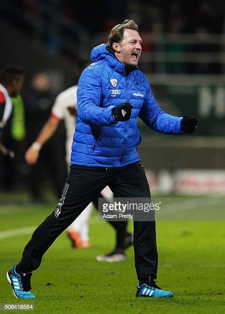 Ralph Hasenhuettl head coach of FC Ingolstadt celebrates victory in the Bundesliga match between FC Ingolstadt and FSV Mainz at Audi Sportpark on...
