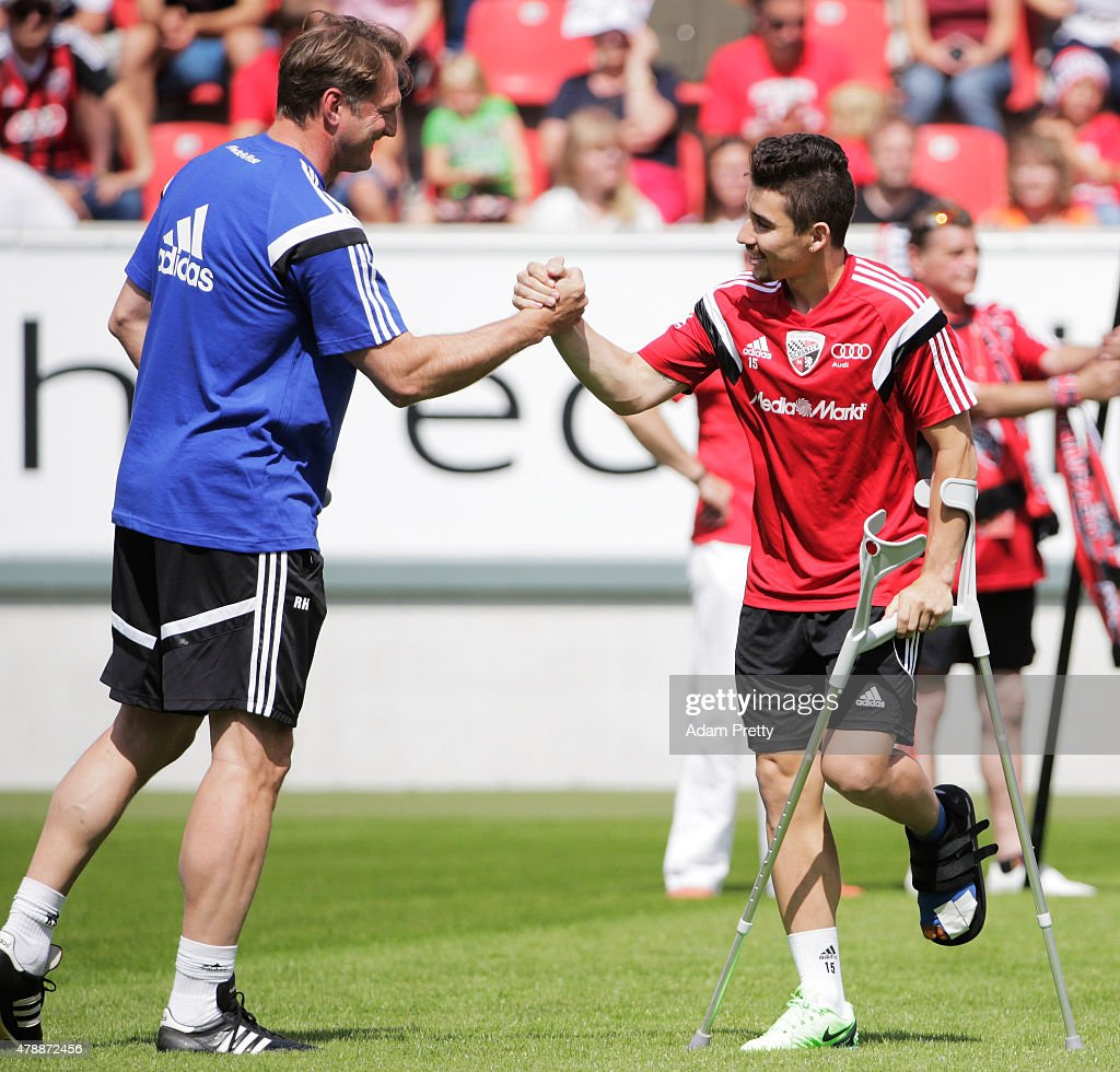 Ralph Hasenhuettl Head Coach of FC Ingolstadt greets Danila Soares Teodoro during first day of training at Audi Sportpark on June 28, 2015 in Ingolstadt, Germany.