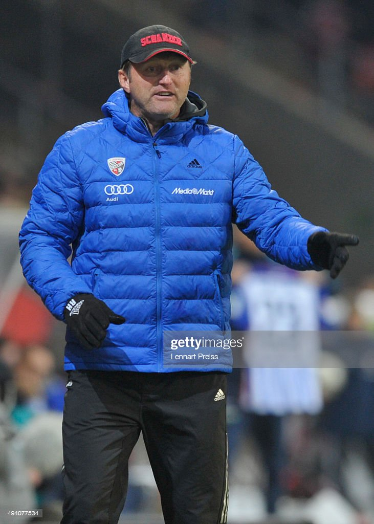 Ralph Hasenhuettl, head coach of FC Ingolstadt reacts during the Bundesliga match between FC Ingolstadt and Hertha BSC at Audi Sportpark on October 24, 2015 in Ingolstadt, Germany.