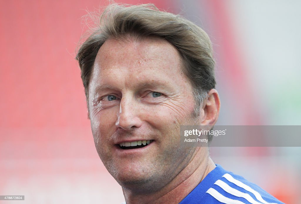 Ralph Hasenhuettl Head Coach of FC Ingolstadt speaks to the media during first day of training at Audi Sportpark on June 28, 2015 in Ingolstadt, Germany.
