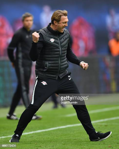 Ralph Hasenhuettl head coach of Leipzig celebrates during the Bundesliga match between RB Leipzig and Bayer 04 Leverkusen at Red Bull Arena on April...