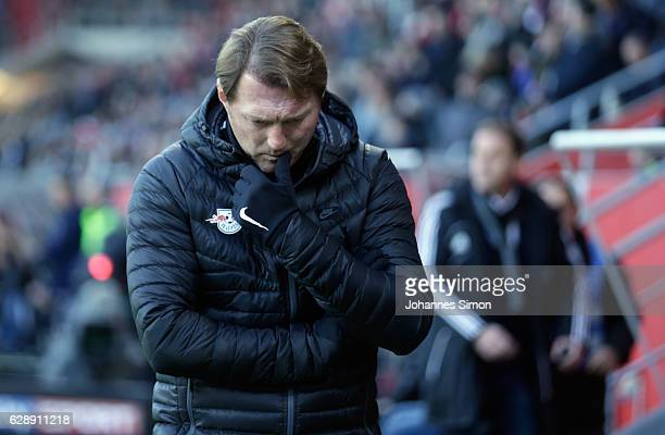 Ralph Hasenhuettl head coach of Leipzig reacts during the Bundesliga match between FC Ingolstadt 04 and RB Leipzig at Audi Sportpark on December 10...