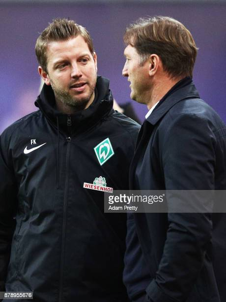 Ralph Hasenhuettl head coach of RB Leipzig chats to Florian Kohfeldt head coach of Werder Bremen before the Bundesliga match between RB Leipzig and...
