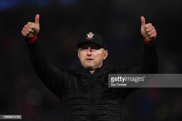 Ralph Hasenhuettl Manager of Southampton acknowledges the fans after the Premier League match between Cardiff City and Southampton FC at Cardiff City...