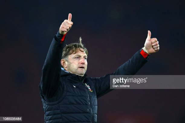 Ralph Hasenhuettl Manager of Southampton acknowledges the fans following the Premier League match between Southampton FC and Everton FC at St Mary's...