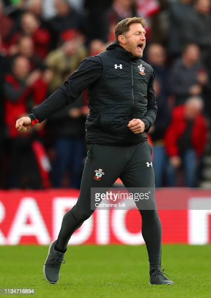 Ralph Hasenhuettl Manager of Southampton celebrates during the Premier League match between Southampton FC and Tottenham Hotspur at St Mary's Stadium...