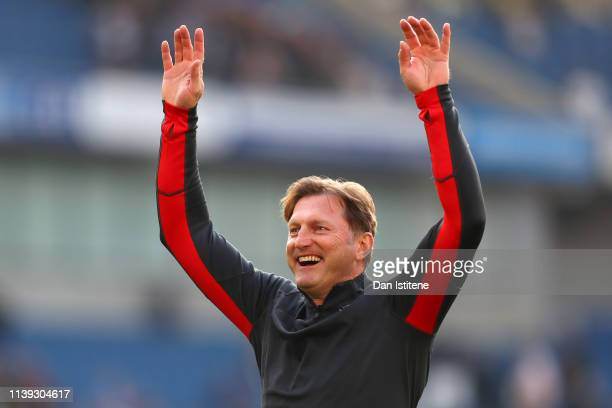 Ralph Hasenhuettl Manager of Southampton celebrates following the Premier League match between Brighton Hove Albion and Southampton FC at American...