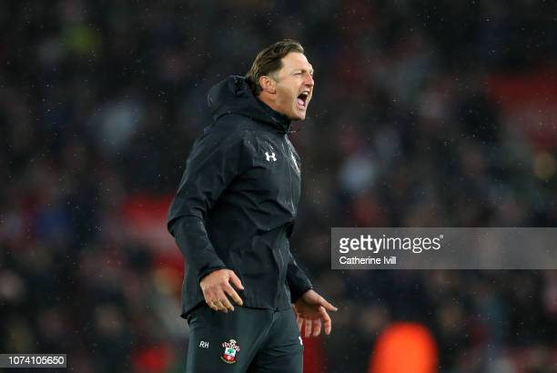 Ralph Hasenhuettl Manager of Southampton celebrates his team's victory after the Premier League match between Southampton FC and Arsenal FC at St...