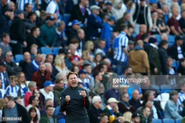 Ralph Hasenhuettl Manager of Southampton celebrates victory after the Premier League match between Brighton Hove Albion and Southampton FC at...