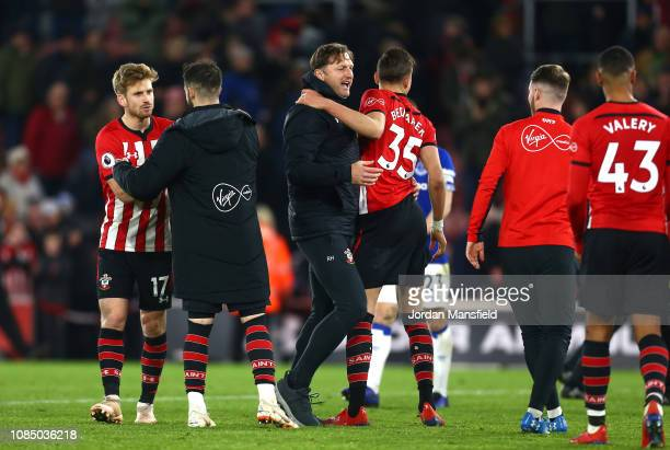Ralph Hasenhuettl Manager of Southampton celebrates victory with Jan Bednarek of Southampton after the Premier League match between Southampton FC...