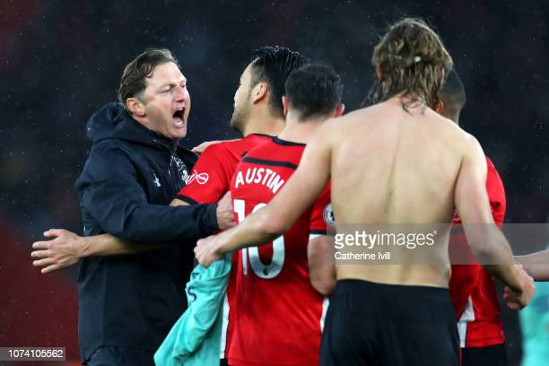 Ralph Hasenhuettl Manager of Southampton celebrates victory with Maya Yoshida of Southampton after the Premier League match between Southampton FC...