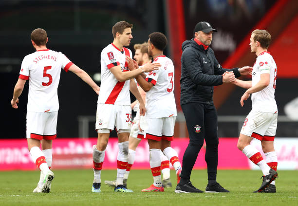 Ralph Hasenhuettl, Manager of Southampton congratulates James Ward-Prowse after The Emirates FA Cup Quarter Final match between Bournemouth and...