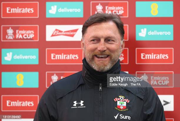 Ralph Hasenhuettl, Manager of Southampton is interviewed prior to the Semi Final of the Emirates FA Cup between Leicester City and Southampton FC at...