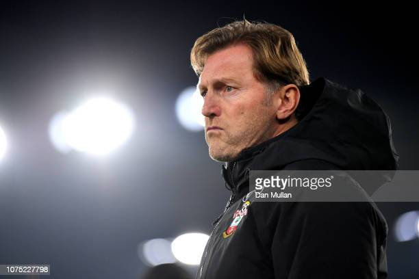 Ralph Hasenhuettl Manager of Southampton looks on ahead of the Premier League match between Southampton FC and West Ham United at St Mary's Stadium...
