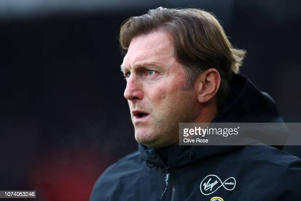 Ralph Hasenhuettl Manager of Southampton looks on prior to the Premier League match between Southampton FC and Arsenal FC at St Mary's Stadium on...