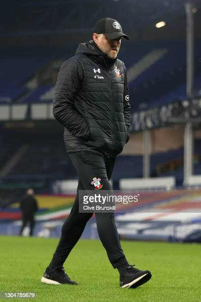 Ralph Hasenhuettl, Manager of Southampton walks off after the Premier League match between Everton and Southampton at Goodison Park on March 01, 2021...
