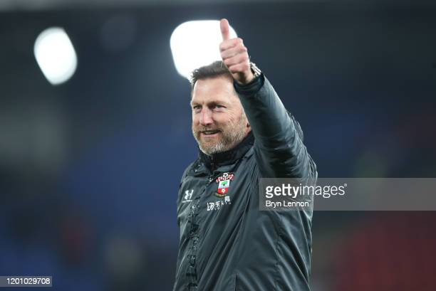 Ralph Hasenhuttl manager of Southampton acknowledges the fans at fulltime during the Premier League match between Crystal Palace and Southampton FC...