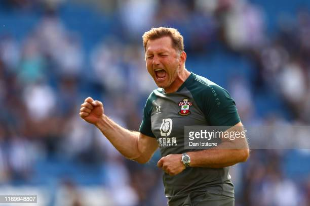 Ralph Hasenhuttl Manager of Southampton celebrates following his sides victory in the Premier League match between Brighton Hove Albion and...