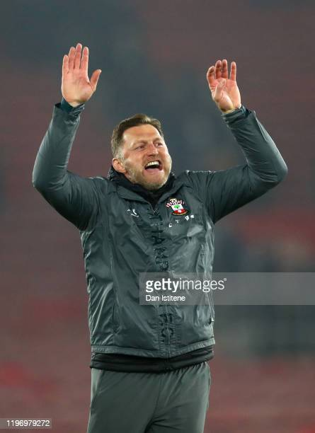 Ralph Hasenhuttl Manager of Southampton celebrates his team's victory at fulltime after the Premier League match between Southampton FC and Tottenham...