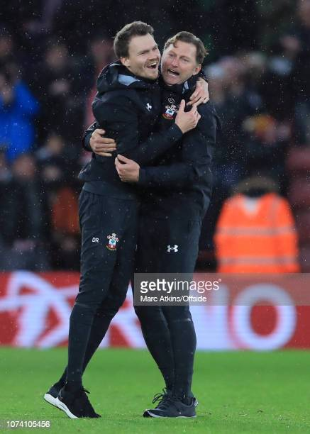 Ralph Hasenhuttl manager of Southampton celebrates the win with a member of his coaching staff during the Premier League match between Southampton FC...