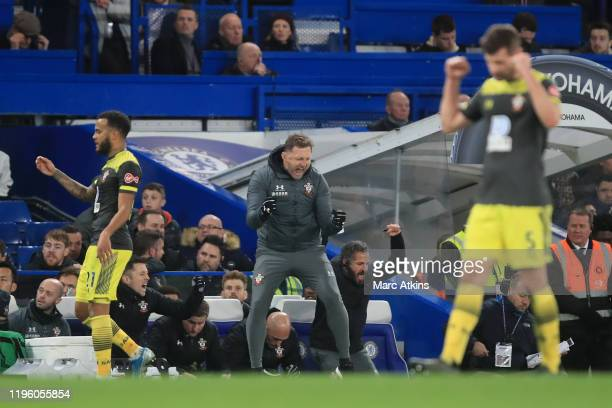 Ralph Hasenhuttl Manager of Southampton celebrates victory following the Premier League match between Chelsea FC and Southampton FC at Stamford...