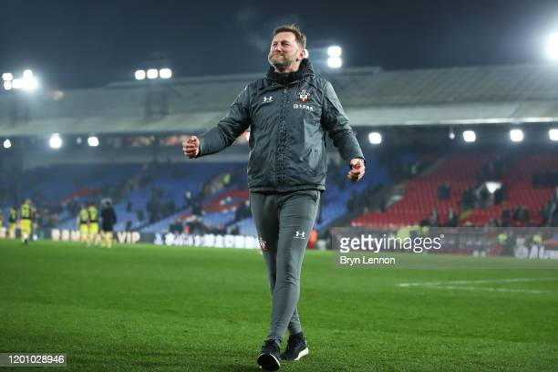 Ralph Hasenhuttl manager of Southampton celebrates with the fans at fulltime during the Premier League match between Crystal Palace and Southampton...