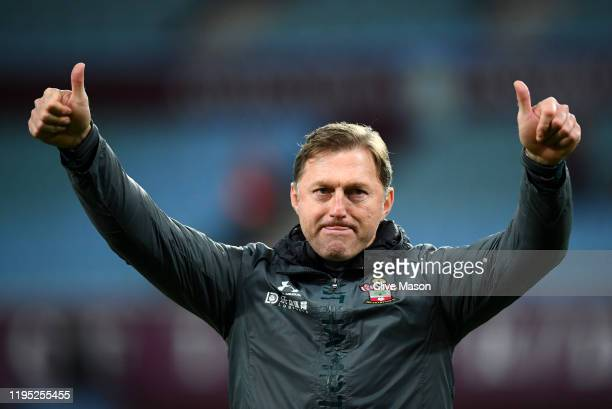 Ralph Hasenhuttl Manager of Southampton celebrates with the fans following the Premier League match between Aston Villa and Southampton FC at Villa...