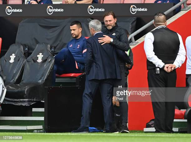 Ralph Hasenhuttl Manager of Southampton greets Jose Mourinho Manager of Tottenham Hotspur prior to during the Premier League match between...