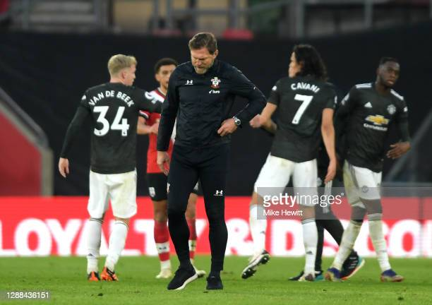 Ralph Hasenhuttl Manager of Southampton looks dejected following their sides defeat in the Premier League match between Southampton and Manchester...