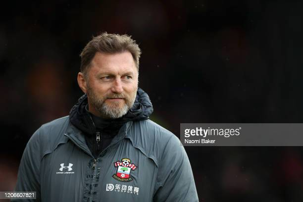 Ralph Hasenhuttl Manager of Southampton looks on during the Premier League match between Southampton FC and Burnley FC at St Mary's Stadium on...
