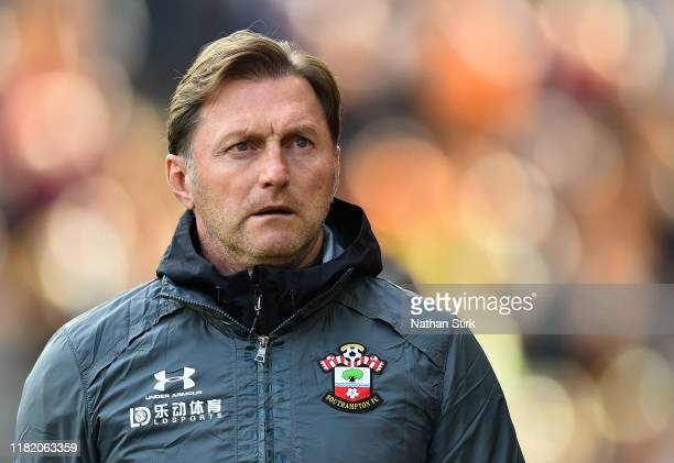 Ralph Hasenhuttl Manager of Southampton looks on prior to the Premier League match between Wolverhampton Wanderers and Southampton FC at Molineux on...