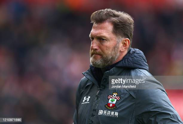 Ralph Hasenhuttl Manager of Southampton looks on prior to the Premier League match between Southampton FC and Newcastle United at St Mary's Stadium...