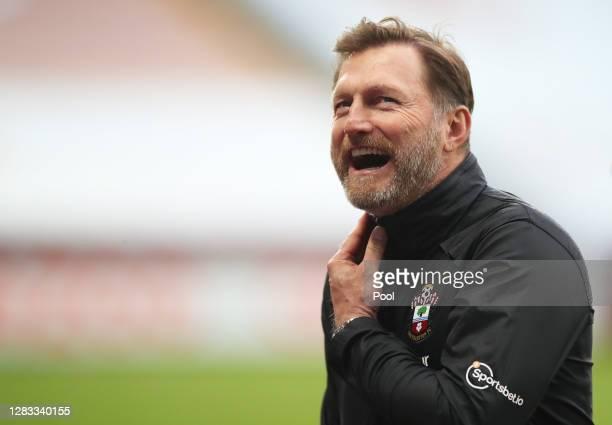 Ralph Hasenhuttl Manager of Southampton reacts following the Premier League match between Aston Villa and Southampton at Villa Park on November 01...