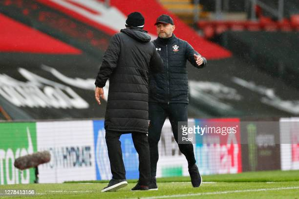 Ralph Hasenhuttl Manager of Southampton shakes hands with Slaven Bilic Manager of West Bromwich Albion during the Premier League match between...