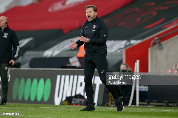 Ralph Hasenhuttl of Southampton during the Premier League match between Southampton and Manchester United at St Mary's Stadium on November 29 2020 in...