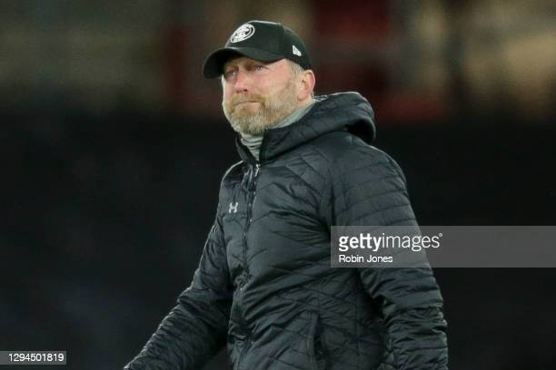 Ralph Hasenhuttl of Southampton reacts after his sides 1-0 win during the Premier League match between Southampton and Liverpool at St Mary's Stadium...