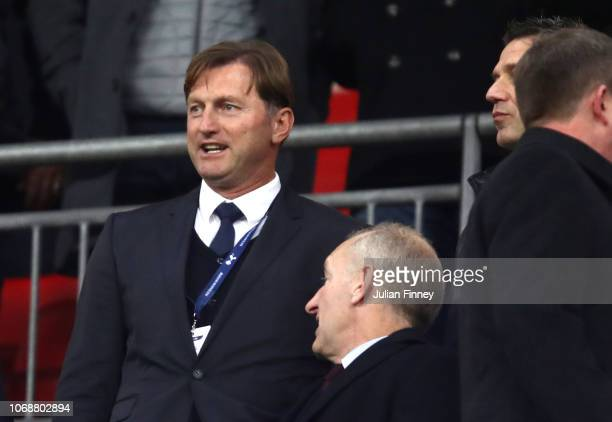 Ralph Hasenhuttl the new appointed first team manager of Southampton looks on from the stands during the Premier League match between Tottenham...
