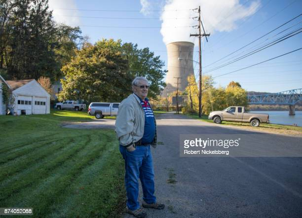 Ralph Hysong stands along the Allegheny River in front of FirstEnergy Corporation's Beaver Valley Nuclear Power Station October 27 2017 in...