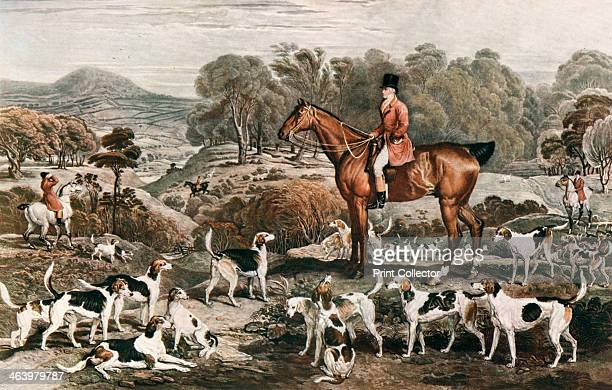 'Ralph John Lambton and his Horse Undertaker and Hounds' late 18th century A print from The Connoisseur'