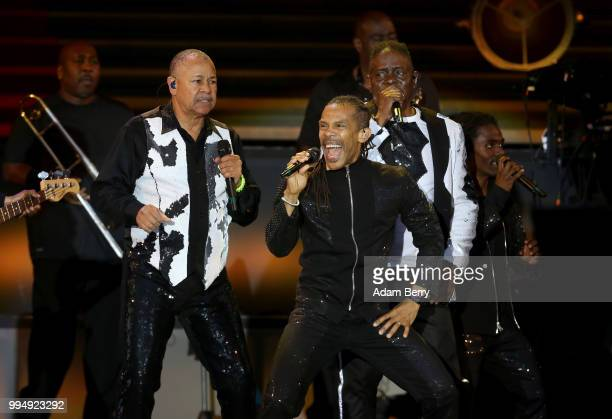 Ralph Johnson B David Whitworth and Philip Bailey of Earth Wind and Fire perform during Classic Open Air at Gendarmenmarkt on July 9 2018 in Berlin...