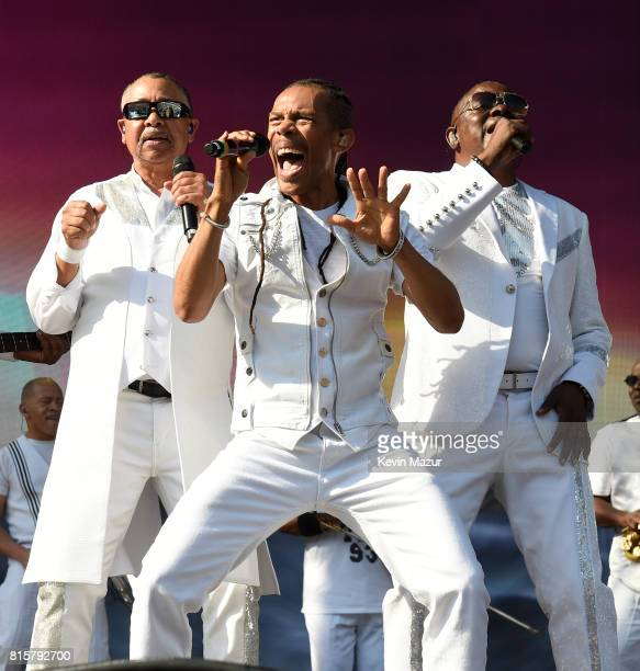 Ralph Johnson B David Whitworth and Phillip Bailey of Earth Wind Fire perform onstage during The Classic West at Dodger Stadium on July 16 2017 in...