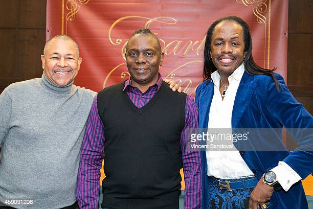 Ralph Johnson Philip Bailey and Verdine White of Earth Wind Fire sign copies of their new holiday CD at Barnes Noble bookstore at The Grove on...