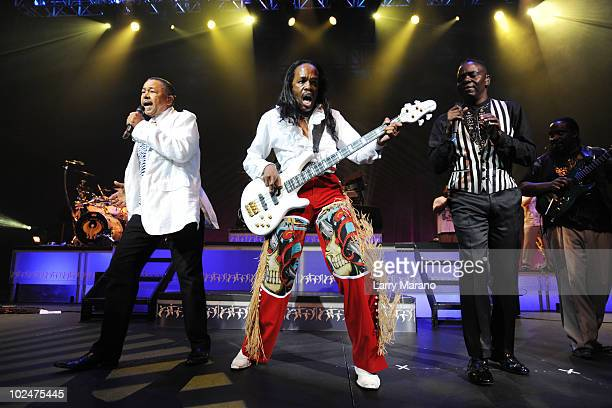 Ralph Johnson Verdine White and Philip Bailey of Earth Wind Fire perform at Hard Rock Live in the Seminole Hard Rock Hotel Casino on June 27 2010 in...