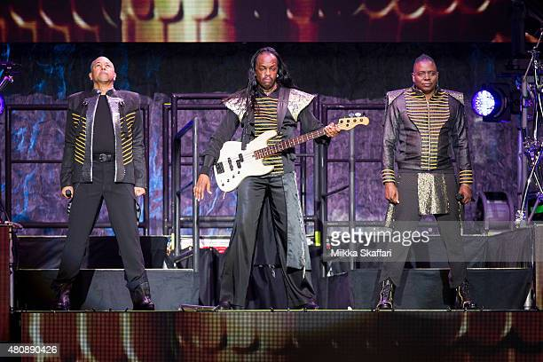 Ralph Johnson Verdine White and Philip Bailey of Earth Wind Fire perform at Concord Pavilion on July 15 2015 in Concord California