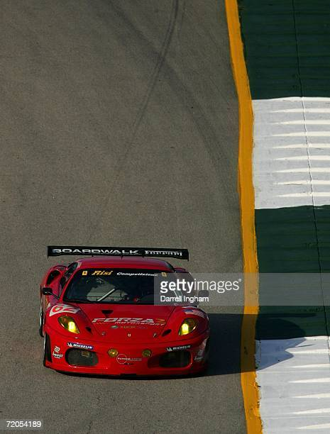 Ralph Kelleners drives the Risi Competizione Ferrari 430 GT Berlinetta during the American Le Mans Series Petit Le Mans on September 30 2006 at Road...