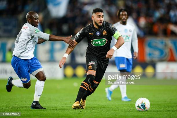 Ralph KOTTOY YAPANDE and Dimitri PAYET of Marseille during the French Cup Soccer match between US Granville and Olympique de Marseille at Stade...