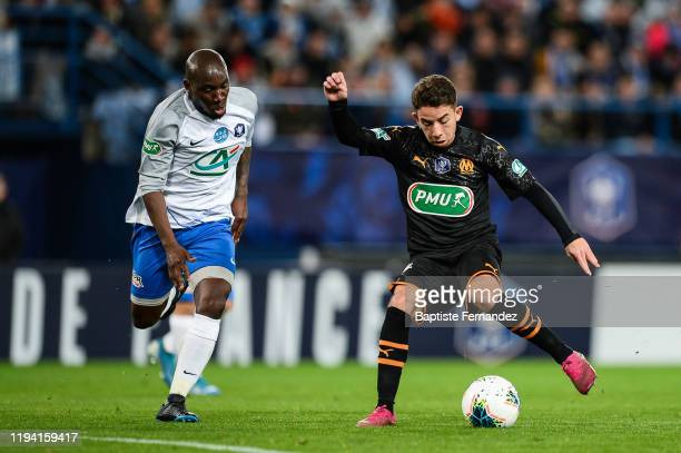 Ralph KOTTOY YAPANDE and Maxime LOPEZ of Marseille during the French Cup Soccer match between US Granville and Olympique de Marseille at Stade Michel...